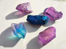 PUNTA AQUA AURA CELESTIALE quarzo viola blu meditazione chakra yoga aura reiki