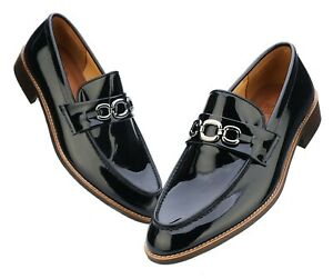 Firenze Atelier Men's Handmade Navy Patent Leather Bit Loafers Penny Loafers