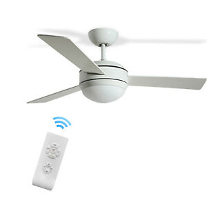 52'' White 3 Speeds Ceiling Fan with 3 Colors LED Light and Remote Control