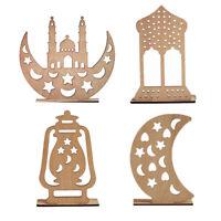 Pendant Ornament Muslim Decor Moon Star Ramadan LED Wooden Plaque Eid Mubarak