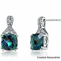 Alexandrite with Swarovski Crystal Cushion 18K White Gold Stud Earring ITALY