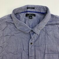 Marc Anthony Button Up Shirt Mens XXL Blue Gray Short Sleeve Casual
