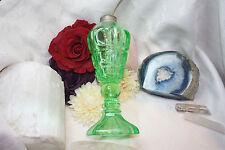 Antique Vintage Green Vaseline Glass Whale Oil Lamp Coin Design