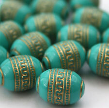 20 x Turquoise Gold Metal Enlaced Jewellery Making Beads 9 x 13mm