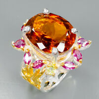 Handmade18ct+ Natural Cognac Quartz 925 Sterling Silver Ring Size 8/R89396