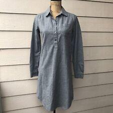 Nuthatch Wool Blend Long Sleeve Shirt Dress Shift Women's Sz P (fits like M)