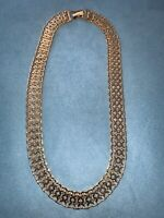 VINTAGE SIGNED MONET GOLD TONE  WIDE LINK CHAIN Collar  NECKLACE