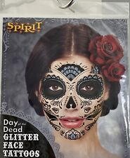 Spirit Halloween Day Of The Dead Glitter Face Tattoo New