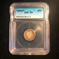 1905 O Barber Dime - Micro O ICG Graded G4 Brean #3545 Rare Type Coin