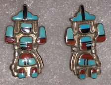 Stunning Old Pawn Zuni Sterling Silver Inlay Knifewing Post Earrings Signed SJ