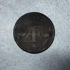 1 ORE 1760 SUEDE / SWEDEN MONOGRAME du ROI ADOLF FREDERIC MONNAIE en CUIVRE.