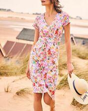 Joules Mujer Jude Jersey Vestido envolvente en Prado Floral Blanco