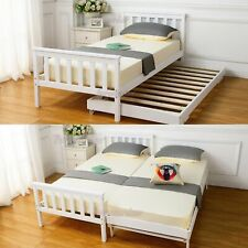 3FT Single Bed Frame Solid Pine Wooden White with Wheels Kids Bedroom Guest Room