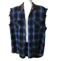 FIELD & STREAM Men's Blue Heavy Woven Plaid Sleeveless Vest X-Large