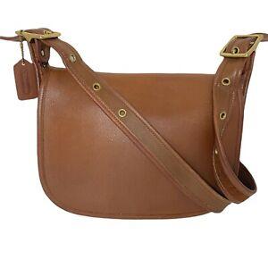 Coach # 9951 Patricia's Legacy British Tan Leather Flap Messenger Bag - Vintage