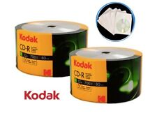 100 Kodak 52X Blank CD-R CDR 700MB Logo Top Media Disc with 100 Paper Sleeves