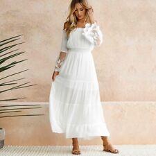 Summer Dress Boho Bohemian Off Shoulder Maxi Dress Women Sheer Lace Patchwork Wh