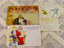 Lot of 3 Vintage Post Cards Risque  Circa 1910 2 w/Messages and Postage