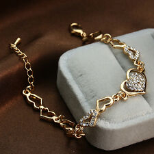 18k Gold Plated Double Hearts Rhinestone Bracelet Chain Woman Charm Jewelry Gift