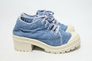 NYLA Size 6 Womens Denim Non-Slip/Spiked Combat Styled Block Heel Short Boots