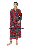 Summer Floral Womens Supersoft Dressing Gown Long Bath Robe Kimono Cotton Maxi
