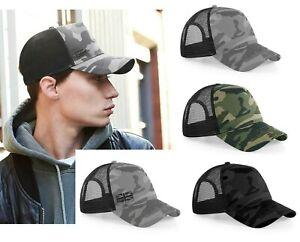 Camo Snapback Trucker Cap Urban Camouflage Hat Half Mesh Street Army Summer Sun