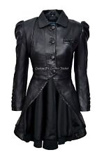 Ladies Gothic Dovetail Real Leather Tailcoat Black Slim Fit Fashion Jacket 5003