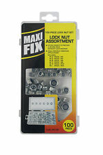 100PC LOCK NUT ASSORTMENT SET IN CASE LOCKING NYLON INSERTS M4 M5 M6 M8 M10 M12