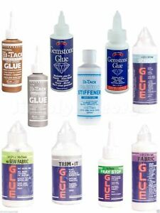 Trim-it Fray Stop No Sew Gemstone Stiffener Gutermann Fabric Glue Wash Wear