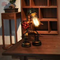 Industrial Iron Pipe Steampunk Study Table Lamp Vintage Robot Desk Light & Valve