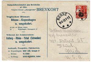 """Denmark 1928 Aary """"star"""" cancel on postcard to the U.S."""