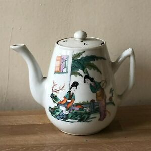 Lovely Chinese Signed Teapot Domestic Scene Decoration