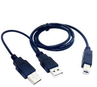 80cm Dual USB 2.0 Male to Standard B Male Y Power Cable For Printer Scanner Cord