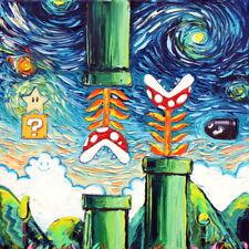 Retro Video Game van Gogh Gamer Gaming Decor Starry Night Wall Art Print by Aja