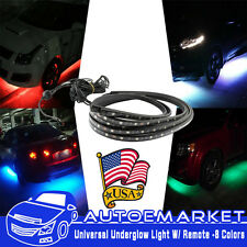 "8 Color Under Car Body Remote Underglow Neon Light Led Strip Bar 36""X2 48""X2 USA"