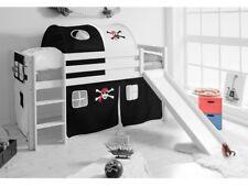 Spielbett Hochbett Kinderbett Kinder Bett mit Rutsche 90x200 cm + Vorhang