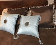 4 Decorative Pillows- Price Is For 2 Brown-or 2 Sea Foam Blue- Great Condition