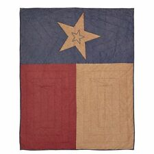 """Cheyenne Texas Flag Quilted Throw Blanket 50X60"""" Khaki Red Blue Five Point Star"""