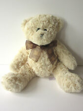 "Tesco Carreaux mousseline ruban beige crème teddy bear soft toy 13"" 2007 plush"