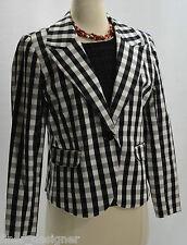AUTH TWEEDS Black White BLAZER coat suit  jacket  career lined stretch cotton 5