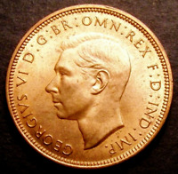 1944 Choice UNC George VI Half Penny Coin CGS 82 MS64 - MS65