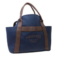 HERMES Sac De Pansage Groom 2way Hand Bag C FM 010 PM Navy Brown Toile H K08967