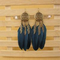 Bohemian Feather Tassel Turquoise Dream Catcher Dangle Earrings Hook Ear Jewelry