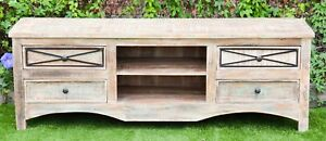 Recycled Timber Carved White washed French Country TV Stand Entertainment Unit