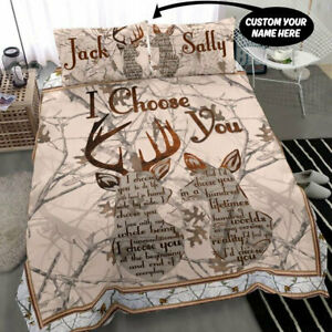 Deer Personalized Name Bedding Sets Wedding Anniversary Birthday Valentine Gifts
