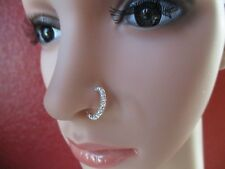 Sterling Silver L Shape nose Ring Clear CZ 22 Gauge 15 clear round CZ's 22g
