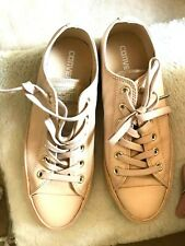 CONVERSE Ladies Allstar Low Leather Converse Ivory Cream Lt Gold UK7/EU40 VVGC