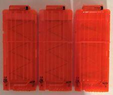 Nerf N-STRIKE Elite 12 Round Clips Magazines Translucent Orange Lot of 3