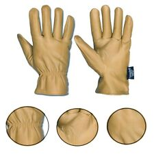 Lined Leather Gloves Premium Thinsulate Tan Work Dickies Style Wear Glove