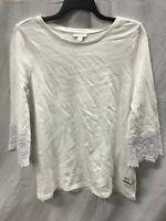 Charter Club Knit 3/4 Sleeve Slub Top White LARGE